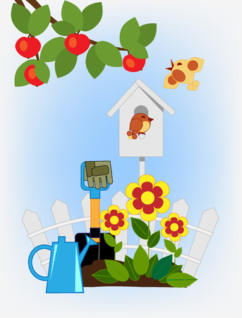 watering can: Cozy corner in the garden. Flower beds and garden tools, bird birds flying around the house Illustration