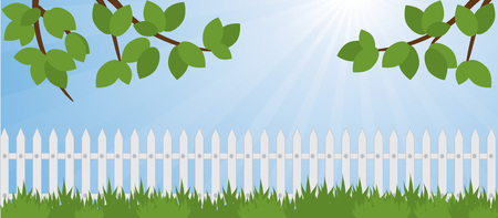 lawn in the garden and white picket fence