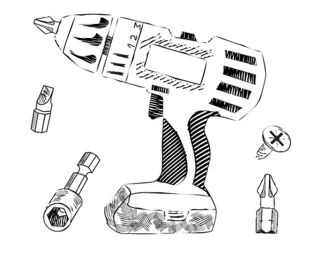 bits: cordless screwdriver with interchangeable bits, sketch Illustration