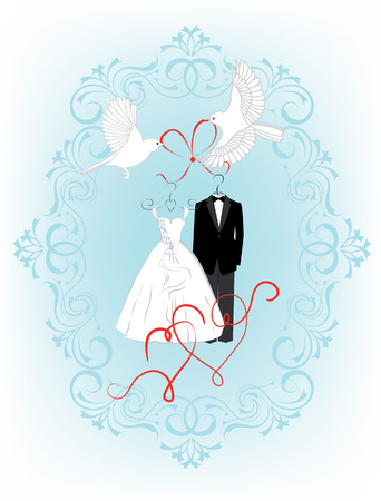 nuptial: Wedding invitation card with birds, hearts and dress the bride and groom in a beautiful frame. Vector illustration Illustration