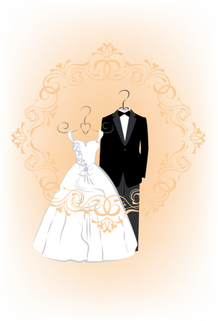 wedding bride: Wedding invitation card with clothes a bride and groom in a beautiful frame. Vector illustration