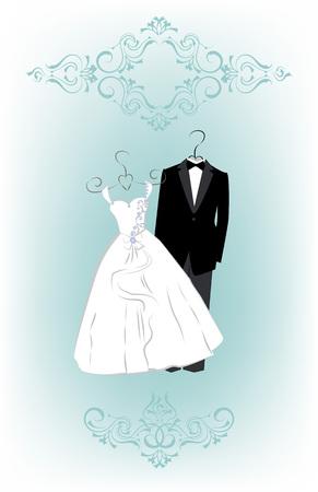 Wedding invitation card with cartoon dress of bride and groom. Vector illustration