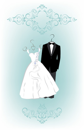 hangers: Wedding invitation card with cartoon dress of bride and groom. Vector illustration