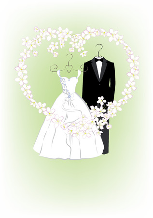 Wedding invitation with bride and groom clothes and flower frame in heart shape. Vector illustration