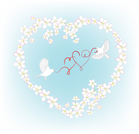 Two birds fly and carry in its beak decorative heart. Illustration for wedding invitation or valentine