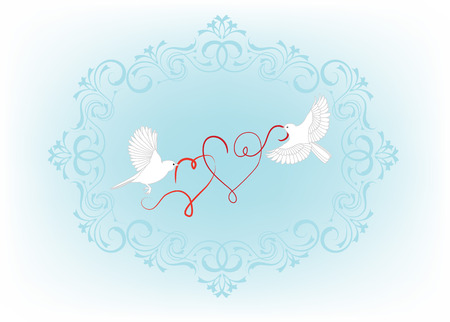 beak: Two birds fly and carry in its beak decorative heart. Illustration for wedding invitation or valentine