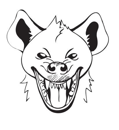 hienas: riendo la cabeza de hiena con la boca abierta, boceto