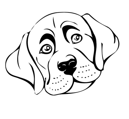sad dog: sad dog muzzle, vector illustration