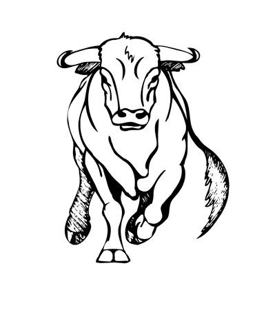 bull attacks, stylized vector illustration Stock Illustratie