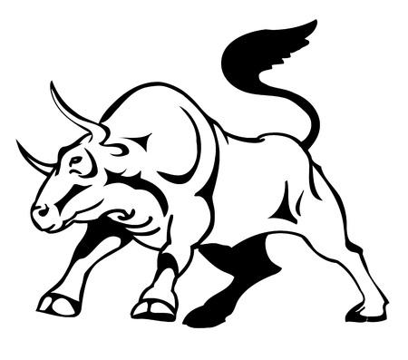 brave of sport: bull attacks, stylized vector illustration Illustration