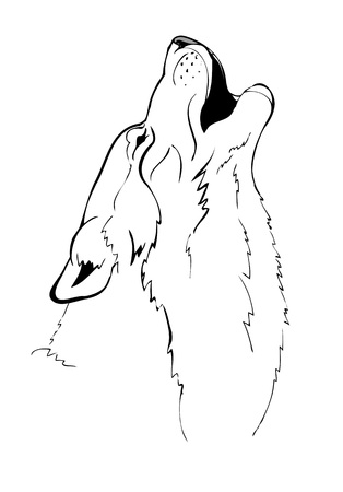 wolves: head howling wolf vector illustration