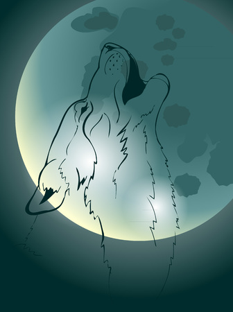 howl: wolf howling at the moon, vector illustration
