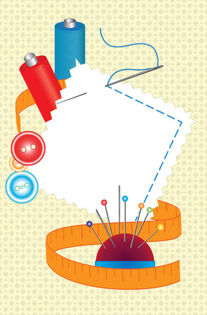 needles: Thread, needles and other accessories for sewing. Vector illustration Illustration