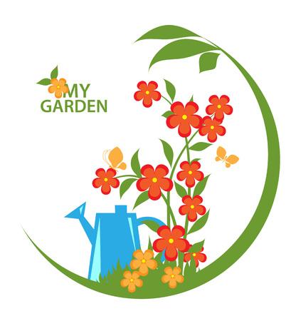 Blooming Garden emblem, badge, label, design element. Vector illustration