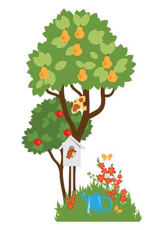 Les arbres fruitiers et en fleurs des parterres de fleurs dans le jardin