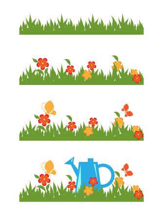grass flowers: Green grass and flowers. Vector brush Illustration