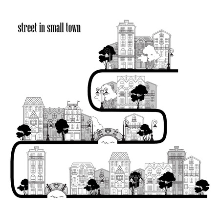 small town: The street of a small town. Vector illustration Illustration