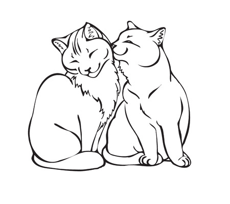 coppia di gatti amore. illustrazione vettoriale