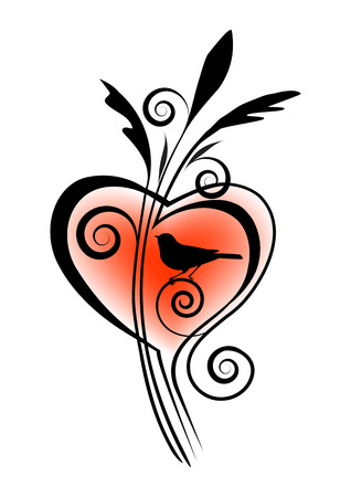vignette: vignette with a bird and heart Illustration