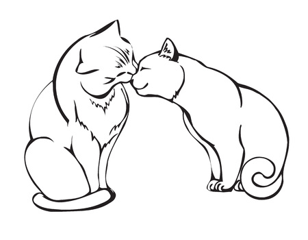 cat s: couple in love cats. vector illustration Illustration