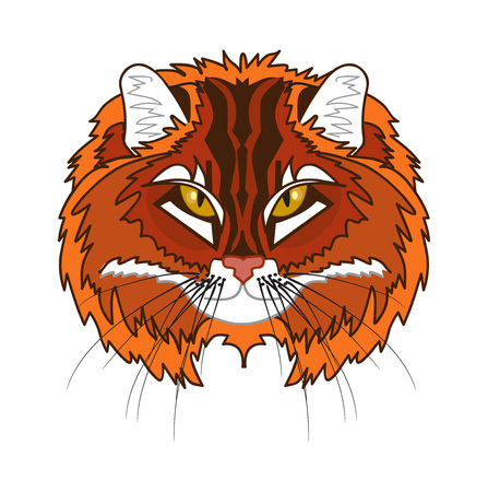 harsh: red cats head, stylized illustration