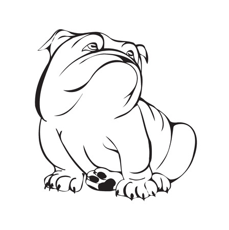 dreamy bulldog, black and white stylized illustration