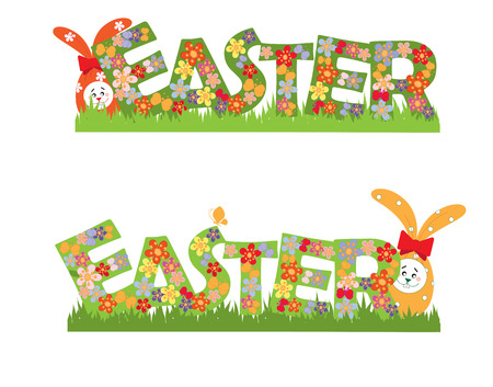 Easter banner with flowers, text and rabbits