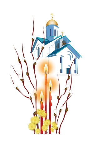 orthodox: Easter illustration with branches of willow, Easter candles and primroses in the background of an Orthodox church