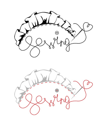 needle laces: sewing, lace and thread with a needle, vector illustration
