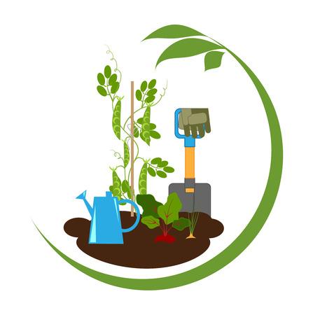 moestuin, groenten in de bedden en tuingereedschap, embleem, vector illustratie