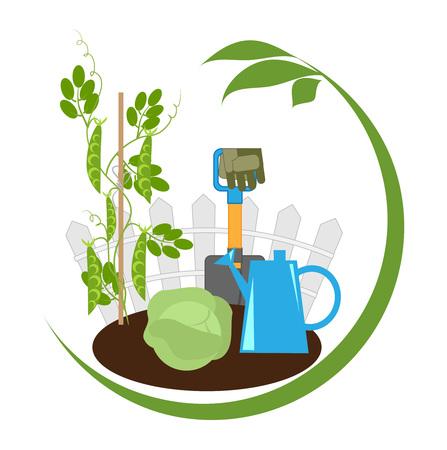 Gemüsegarten, Gemüse in den Betten und Gartengeräte, Emblem, Vektor-Illustration