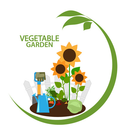 vegetable garden, vegetables in the beds and garden tools, emblem, vector illustration