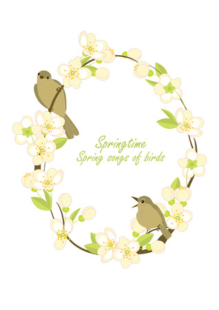 Frame with birds on flowering branches, vector illustration