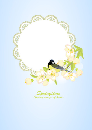 Frame with bird on flowering branches, vector illustration