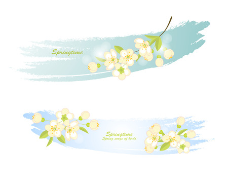 blossoming: two banners with blossoming tree branches on a blue background