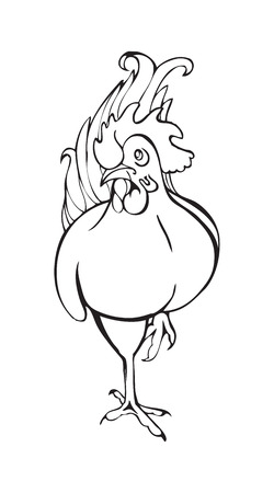 Rooster, black and white stylized image