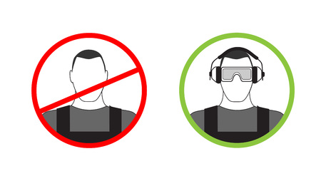 personal protective equipment: Warning sign can not get to work without headphones and goggles