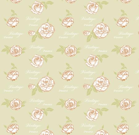 vintage colors: Vintage roses seamless pattern in pastel colors Illustration