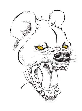 hienas: hyenas head with a grinning mouth, graphic sketch