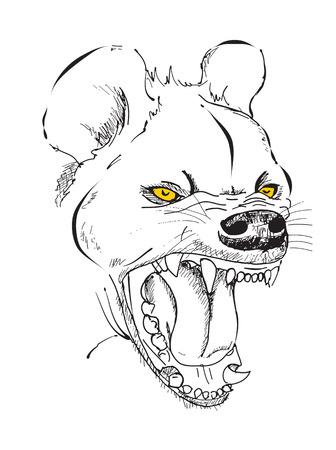 hienas: La cabeza de hiena con una boca sonriente, gráfica del bosquejo