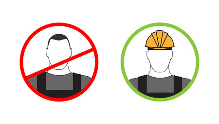 protective helmets: Warning sign can not be on site without protective helmets