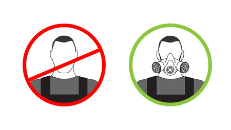 respirator: Warning sign can not get to work without a respirator