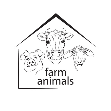farm animals, livestock, a cow, a pig and a sheep, black and white vector illustration