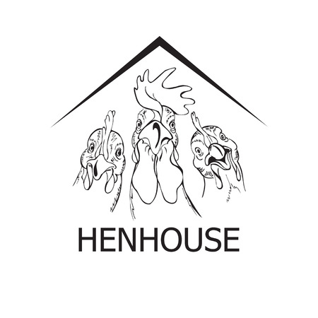hens and rooster in the hen house, black and white vector illustration