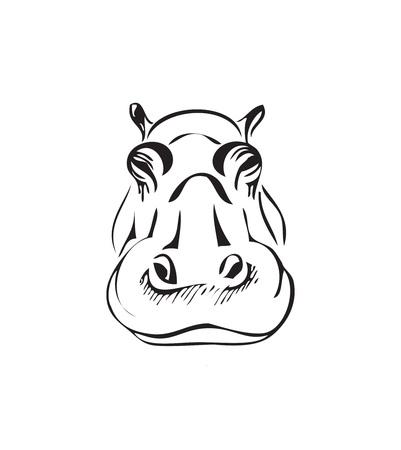 La Cabeza De Un Hipopótamo, Ilustración Vectorial Blanco Y Negro ...