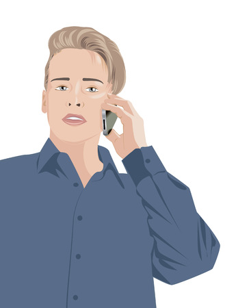 blue shirt: handsome young man in a blue shirt talking on the phone, illustration Illustration