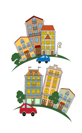 small town: street of a small town, the stone blocks of flats, urban scene, illustration