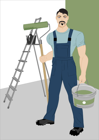 stepladder: painter with a roller, a stepladder and tools for painting in the room, illustration,
