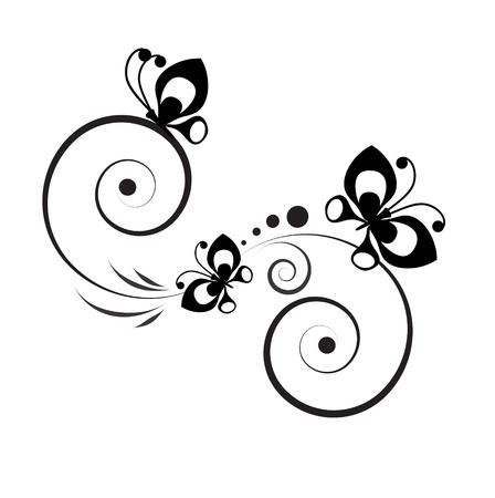 butterfly flower: Black and white vignette in a graphic style with butterflies and pinstripes Illustration