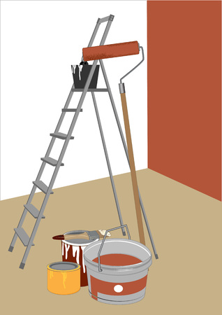 stepladder: stepladder and tools for painting in the room, illustration
